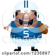 Clipart Of A Happy African American Male Football Player Holding A Ball Royalty Free Vector Illustration