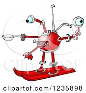 Clipart Of A Red Skiing Robot Royalty Free Illustration