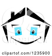 Clipart Of A Black And White Happy Home Character With Blue Eyes Royalty Free Vector Illustration