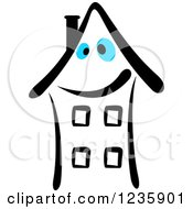 Clipart Of A Black And White Happy Building Character With Blue Eyes Royalty Free Vector Illustration