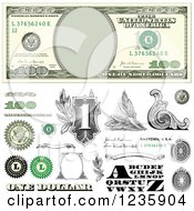 One Hundred Dollar Bill And Money Design Elements