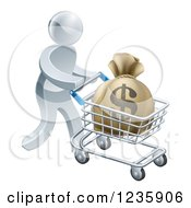 Clipart Of A 3d Silver Man Pushing A Money Bag In A Shopping Cart Royalty Free Vector Illustration
