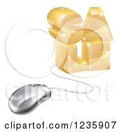 Clipart Of A 3d Computer Mouse Connected To Gold SALE Royalty Free Vector Illustration