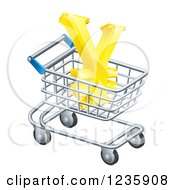 Clipart Of A 3d Golden Yen With A White Outline In A Shopping Cart Royalty Free Vector Illustration