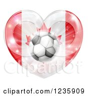 Clipart Of A 3d Canadian Flag Heart And Soccer Ball Royalty Free Vector Illustration by AtStockIllustration