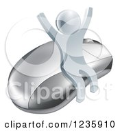 Clipart Of A 3d Silver Man Cheering And Sitting On A Computer Mouse Royalty Free Vector Illustration by AtStockIllustration