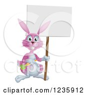 Happy Pink Bunny Rabbit Holding A Carrot And Blank Sign