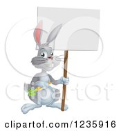 Happy Gray Bunny Rabbit Holding A Carrot And Blank Sign