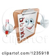 Clipart Of A Happy Survey Clipboard Holding A Pencil And Thumb Up Royalty Free Vector Illustration by AtStockIllustration