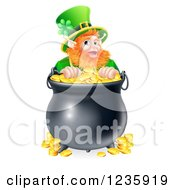 Clipart Of A St Patricks Day Leprechaun Looking Over A Pot Of Gold Coins Royalty Free Vector Illustration by AtStockIllustration