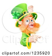 Clipart Of A St Patricks Day Leprechaun Looking Around And Pointing To A Sign Royalty Free Vector Illustration