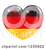 Clipart Of A 3d Reflective German Flag Heart Royalty Free Vector Illustration