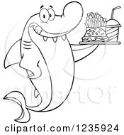 Clipart Of A Black And White Hungry Shark Character With A Tray Of Fast Food Royalty Free Vector Illustration