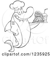 Clipart Of A Black And White Shark Chef Character Serving Fast Food Royalty Free Vector Illustration