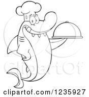 Clipart Of A Black And White Shark Chef Character Holding A Platter Royalty Free Vector Illustration