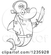 Clipart Of A Black And White Pirate Captain Shark Character Holding A Sword Royalty Free Vector Illustration by Hit Toon