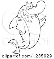 Clipart Of A Black And White Shark Character Waving Royalty Free Vector Illustration
