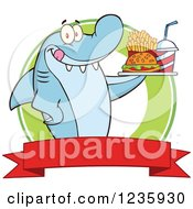 Clipart Of A Hungry Shark Character With A Tray Of Fast Food Over A Banner Royalty Free Vector Illustration