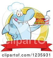 Clipart Of A Shark Chef Character Serving Fast Food Over A Banner Royalty Free Vector Illustration