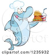 Clipart Of A Shark Chef Character Serving Fast Food Royalty Free Vector Illustration