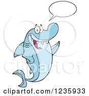 Clipart Of A Talking Shark Character Waving Royalty Free Vector Illustration