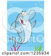 Clipart Of A Shark Character Waving Over Seaweed Royalty Free Vector Illustration