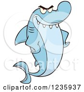 Clipart Of A Mad Shark Character With Fins On His Hips Royalty Free Vector Illustration