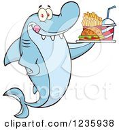 Clipart Of A Hungry Shark Character With A Tray Of Fast Food Royalty Free Vector Illustration