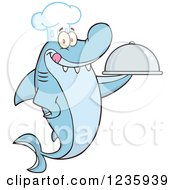 Clipart Of A Shark Chef Character Holding A Platter Royalty Free Vector Illustration by Hit Toon