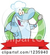 Shark Chef Character Holding A Spoon Over A Banner