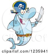 Clipart Of A Pirate Captain Shark Character Holding A Sword Royalty Free Vector Illustration by Hit Toon