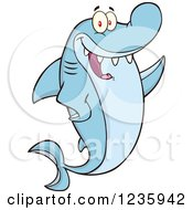 Clipart Of A Shark Character Waving Royalty Free Vector Illustration by Hit Toon