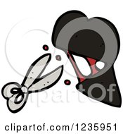Clipart Of A Bleeding Cut Heart And Scissors Royalty Free Vector Illustration
