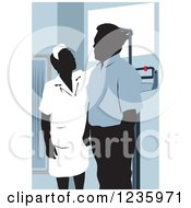 Clipart Of A Nurse Measuring The Height Of A Male Patient Royalty Free Vector Illustration