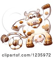 Clipart Of A Sporty Cow Playing Soccer Royalty Free Vector Illustration by Zooco
