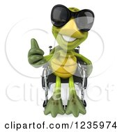Clipart Of A 3d Disabled Tortoise Wearing Sunglasses Holding A Thumb Up In His Wheelchair Royalty Free Illustration