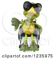 Clipart Of A 3d Disabled Tortoise Wearing Sunglasses Holding A Thumb Down In His Wheelchair Royalty Free Illustration