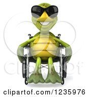 Clipart Of A 3d Disabled Tortoise Wearing Sunglasses And Rolling His Wheelchair Royalty Free Illustration