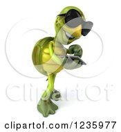 Clipart Of A 3d Tortoise Wearing Sunglasses And Using A Smart Phone 3 Royalty Free Illustration