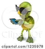 Clipart Of A 3d Tortoise Wearing Sunglasses And Using A Smart Phone 2 Royalty Free Illustration