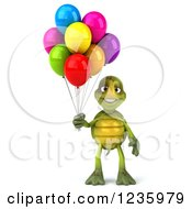Clipart Of A 3d Tortoise Standing With Party Balloons Royalty Free Illustration