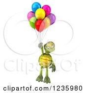 Clipart Of A 3d Tortoise Floating With Party Balloons Royalty Free Illustration
