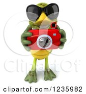 Clipart Of A 3d Tortoise Wearing Sunglasses And Taking Pictures With A Camera 2 Royalty Free Illustration