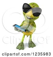 Clipart Of A 3d Tortoise Wearing Sunglasses And Using A Smart Phone Royalty Free Illustration