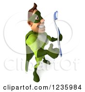 Clipart Of A 3d Caucasian Green Super Hero Man Holding A Thumb Up And Toothbrush 2 Royalty Free Illustration