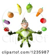 Clipart Of A 3d Caucasian Green Super Hero Man Juggling Produce Royalty Free Illustration by Julos