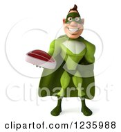 Clipart Of A 3d Caucasian Green Super Hero Man Holding A Steak Royalty Free Illustration