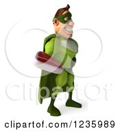 Clipart Of A 3d Caucasian Green Super Hero Man Holding A Steak 2 Royalty Free Illustration