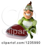 Clipart Of A 3d Caucasian Green Super Hero Man Holding Up A Steak Royalty Free Illustration