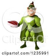 Clipart Of A 3d Caucasian Green Super Hero Man Holding A Steak 3 Royalty Free Illustration